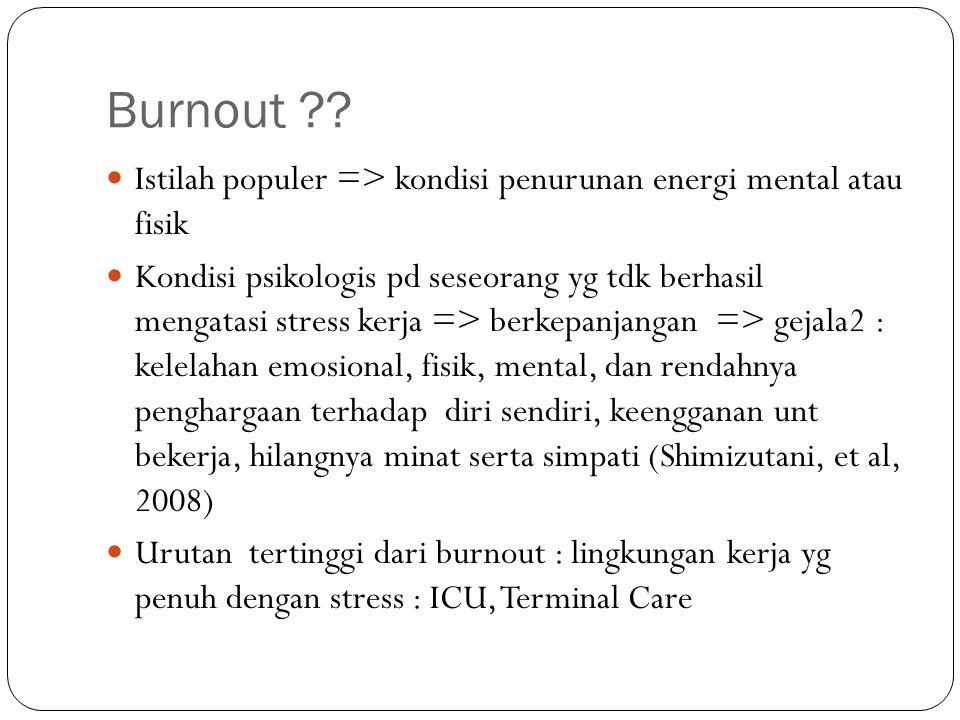 Burnout Istilah populer => kondisi penurunan energi mental atau fisik.