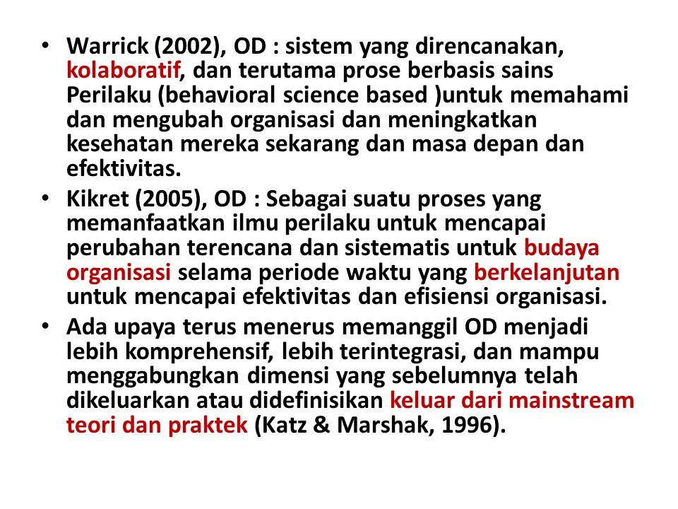 Warrick (2002), OD : sistem yang direncanakan, kolaboratif, dan terutama prose berbasis sains Perilaku (behavioral science based )untuk memahami dan mengubah organisasi dan meningkatkan kesehatan mereka sekarang dan masa depan dan efektivitas.