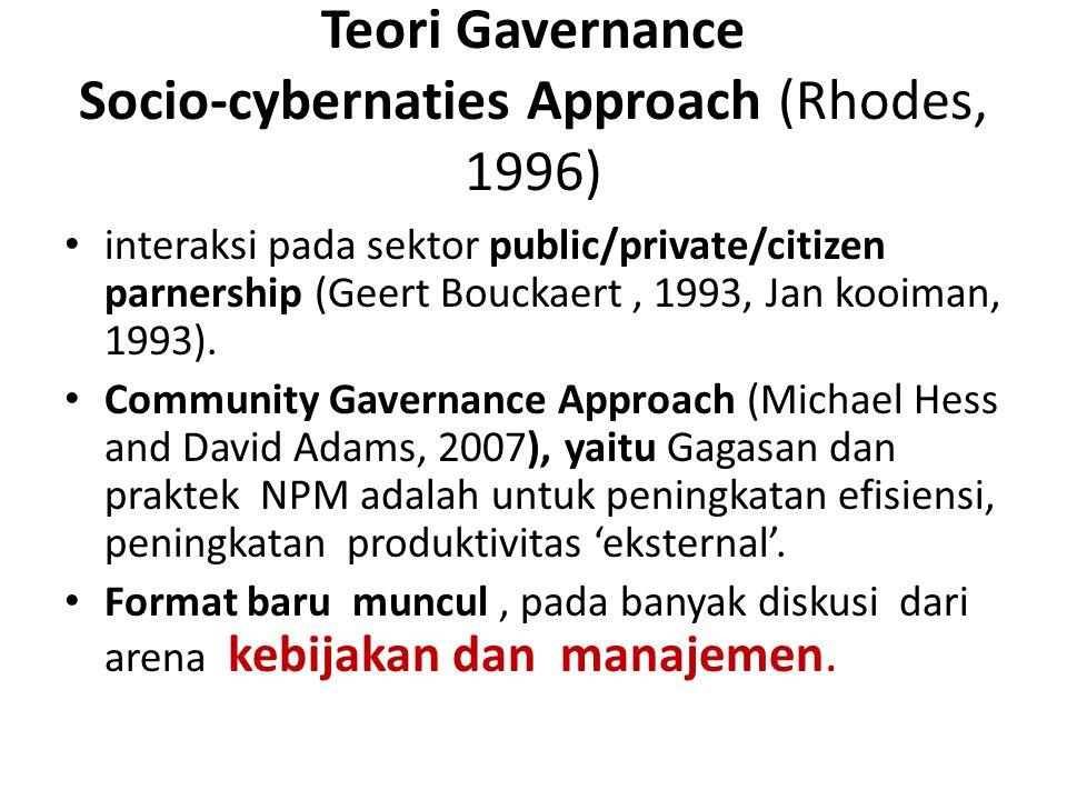 Teori Gavernance Socio-cybernaties Approach (Rhodes, 1996)