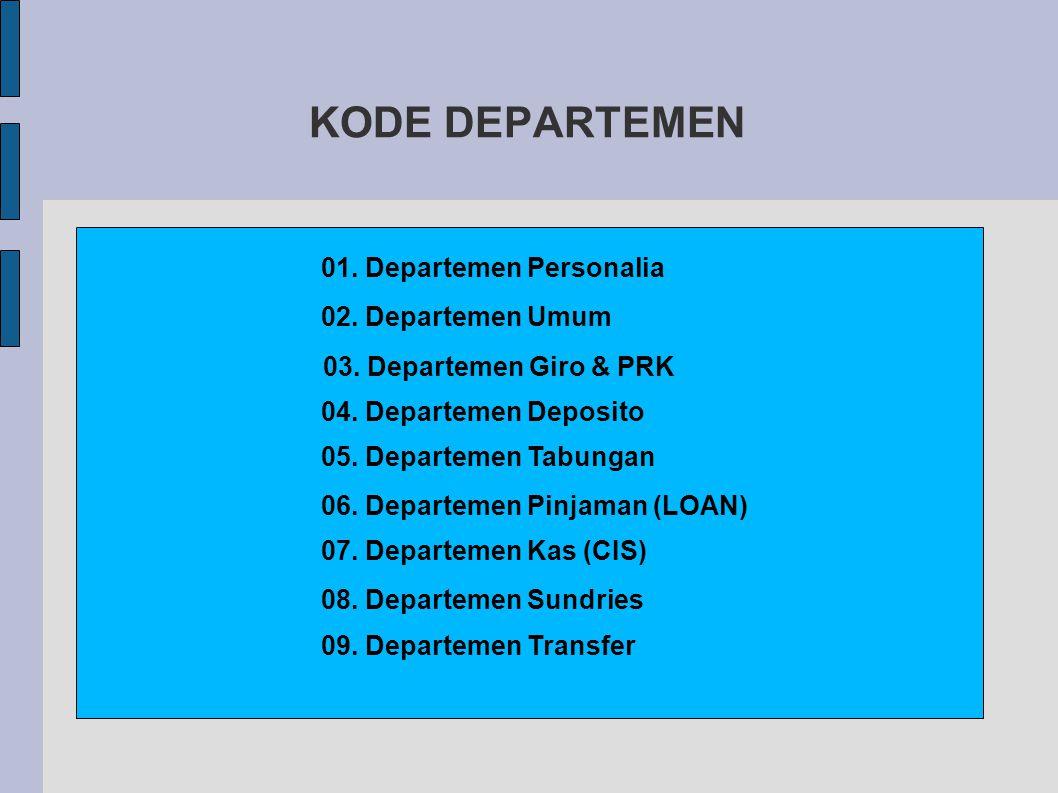 KODE DEPARTEMEN 01. Departemen Personalia 02. Departemen Umum