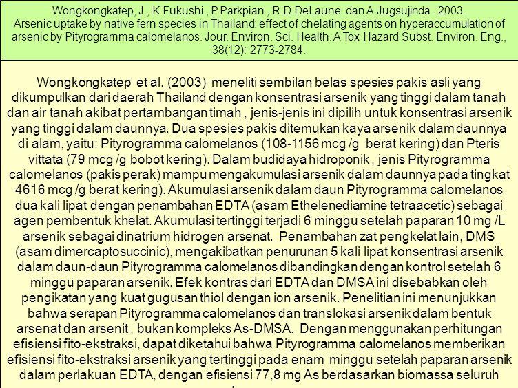 Wongkongkatep, J. , K. Fukushi , P. Parkpian , R. D. DeLaune dan A