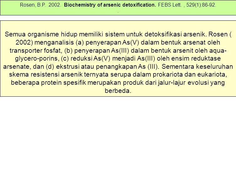 Rosen, B. P. 2002. Biochemistry of arsenic detoxification. FEBS Lett