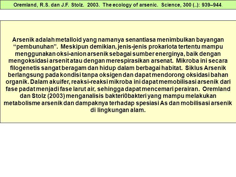 Oremland, R. S. dan J. F. Stolz. 2003. The ecology of arsenic