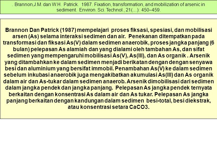 Brannon,J. M. dan W. H. Patrick. 1987