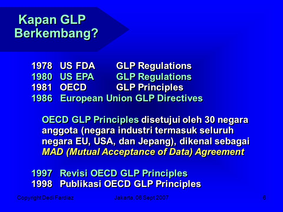 Kapan GLP Berkembang US FDA GLP Regulations US EPA GLP Regulations