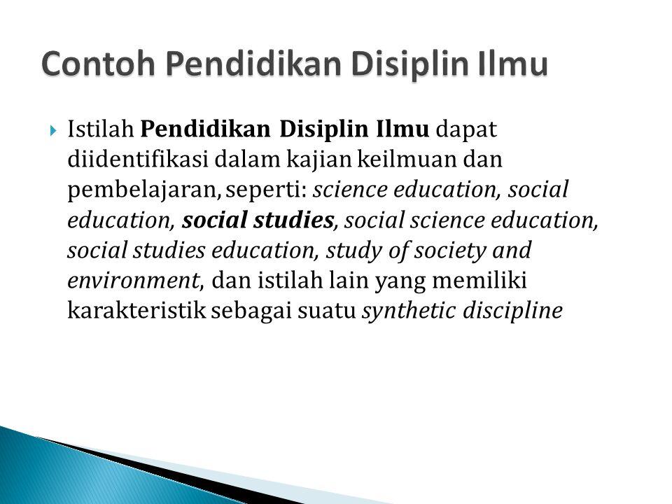 Contoh Pendidikan Disiplin Ilmu