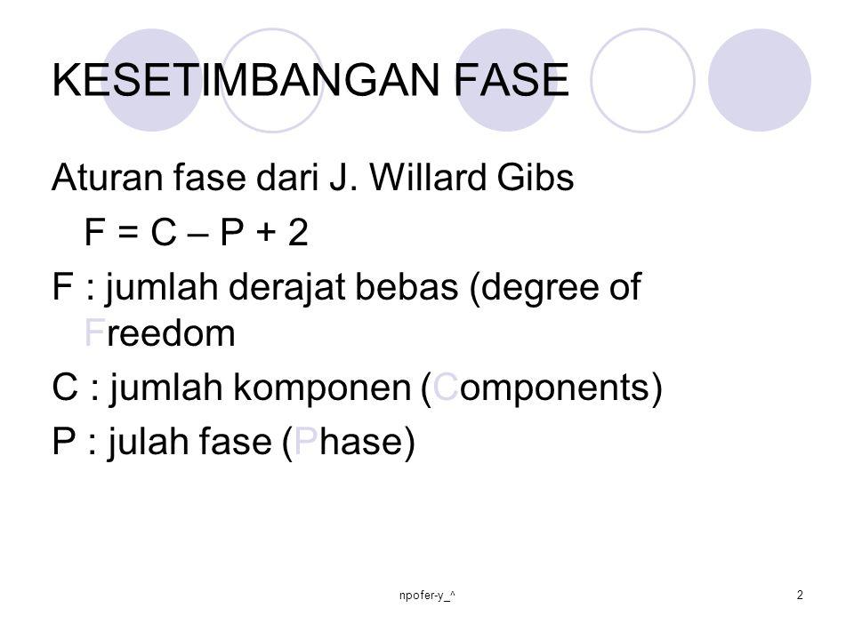 KESETIMBANGAN FASE Aturan fase dari J. Willard Gibs F = C – P + 2