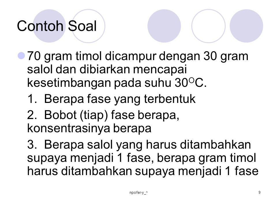 Contoh Soal 70 gram timol dicampur dengan 30 gram salol dan dibiarkan mencapai kesetimbangan pada suhu 30OC.