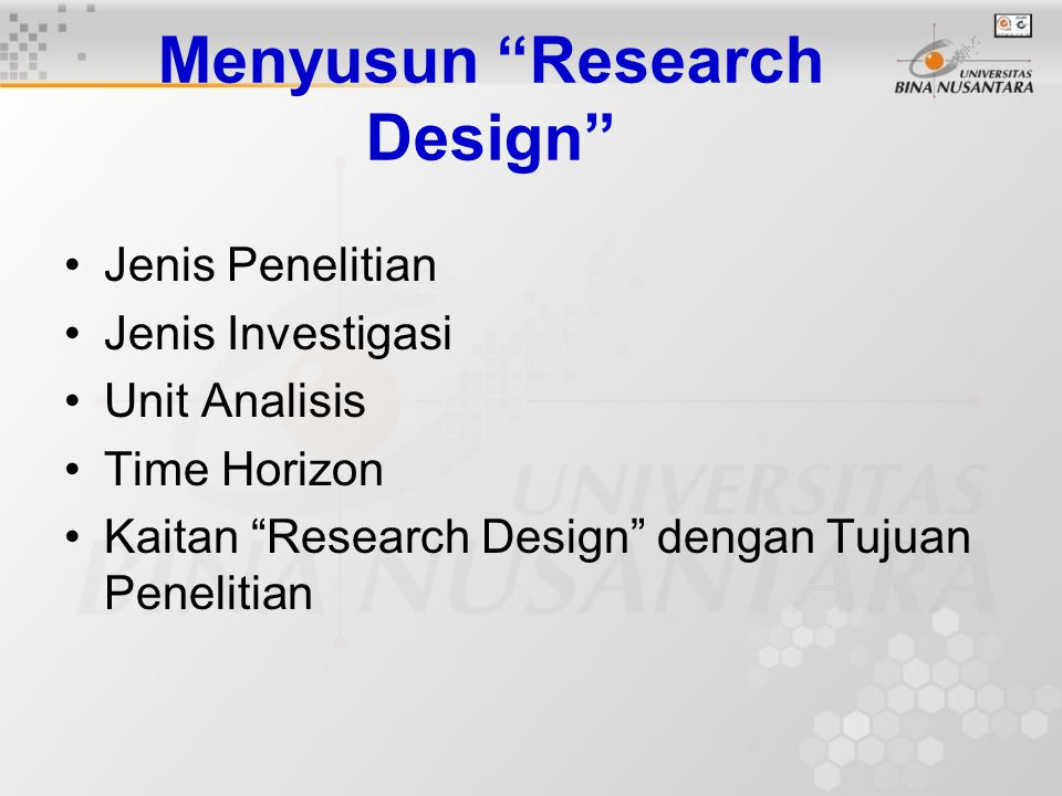 Menyusun Research Design