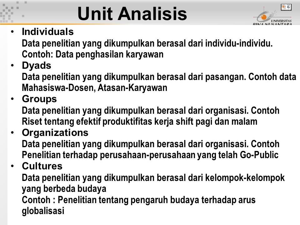 Unit Analisis Individuals