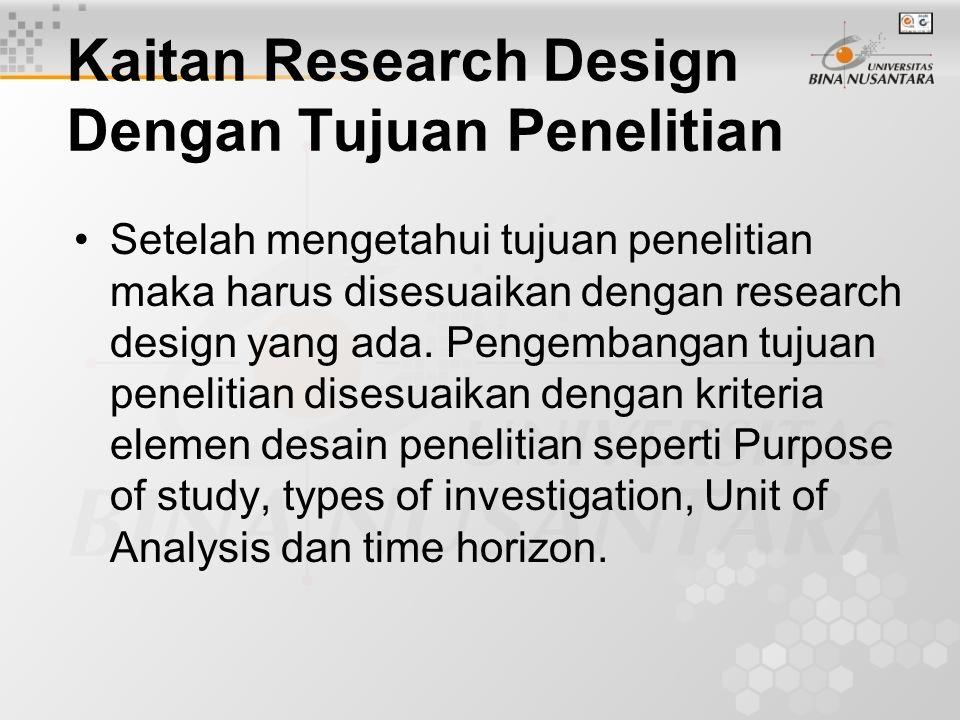 Kaitan Research Design Dengan Tujuan Penelitian