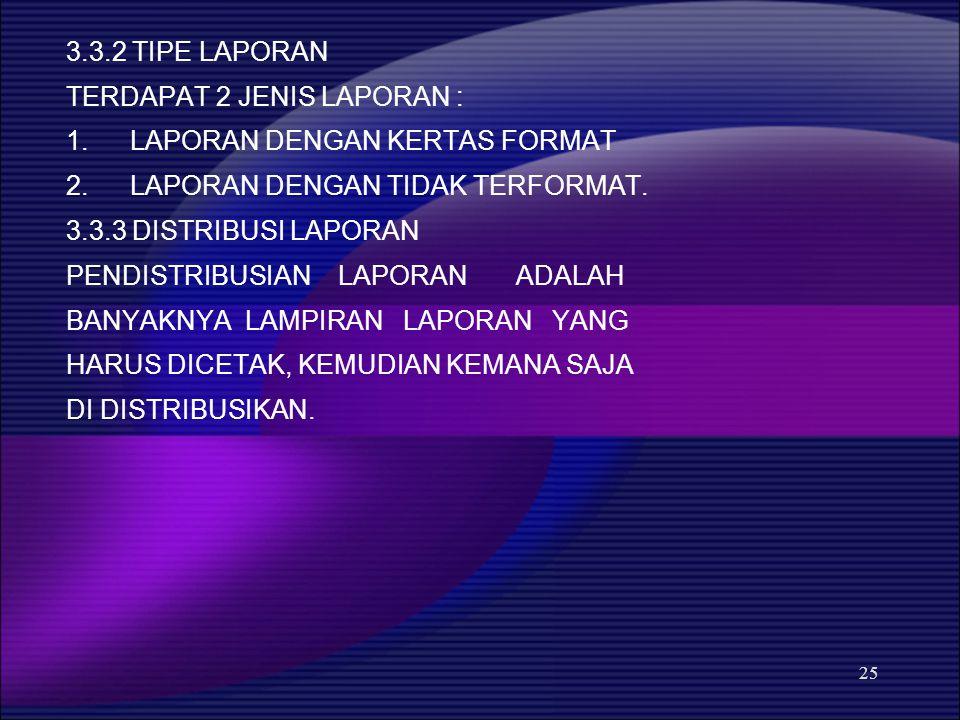 3.3.2 TIPE LAPORAN TERDAPAT 2 JENIS LAPORAN : LAPORAN DENGAN KERTAS FORMAT. LAPORAN DENGAN TIDAK TERFORMAT.