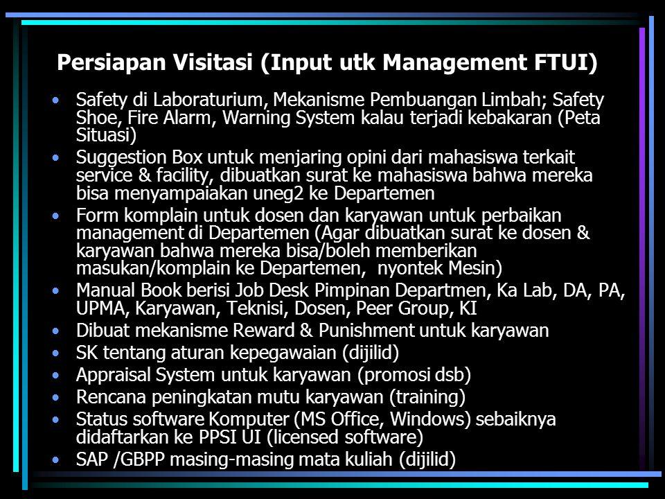 Persiapan Visitasi (Input utk Management FTUI)