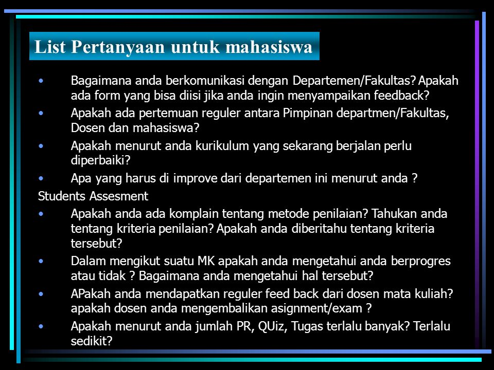 List Pertanyaan untuk mahasiswa