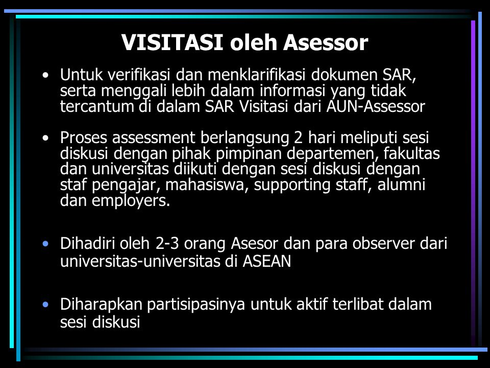 VISITASI oleh Asessor
