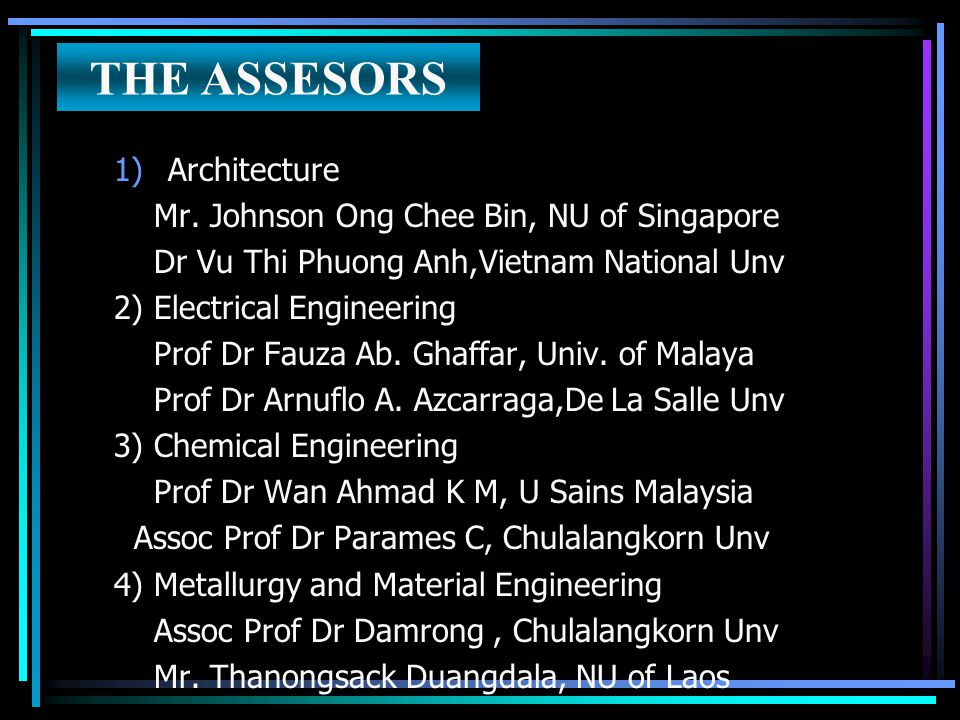 THE ASSESORS Architecture Mr. Johnson Ong Chee Bin, NU of Singapore