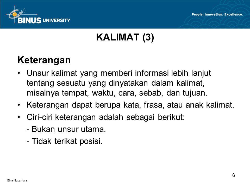 KALIMAT (3) Keterangan.