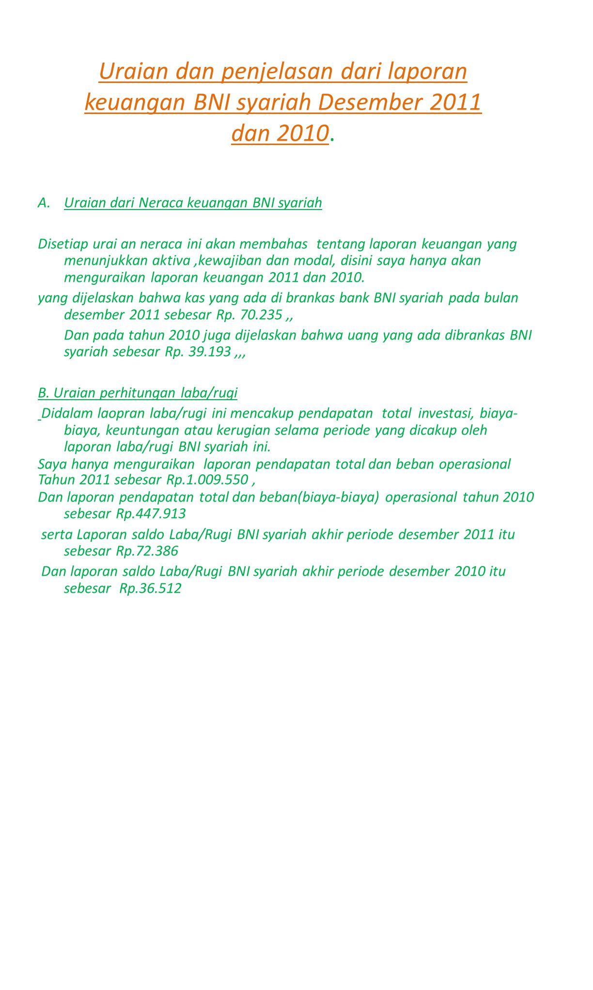 Uraian dan penjelasan dari laporan keuangan BNI syariah Desember 2011 dan 2010.