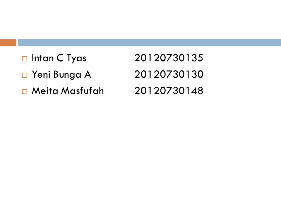 Intan C Tyas 20120730135 Yeni Bunga A 20120730130 Meita Masfufah 20120730148