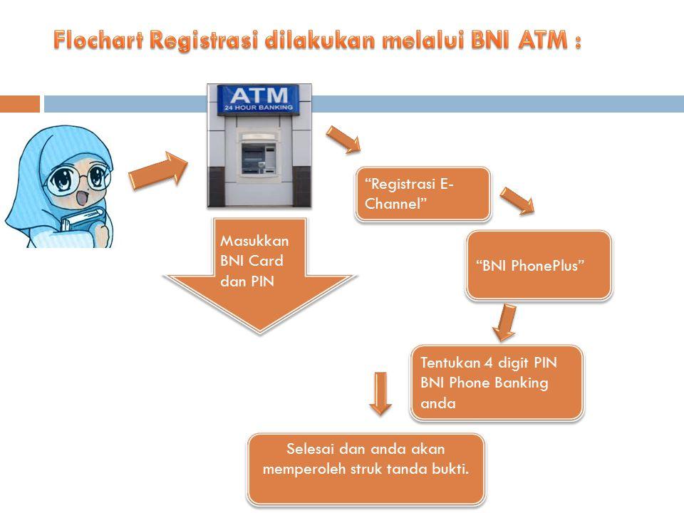 Flochart Registrasi dilakukan melalui BNI ATM :