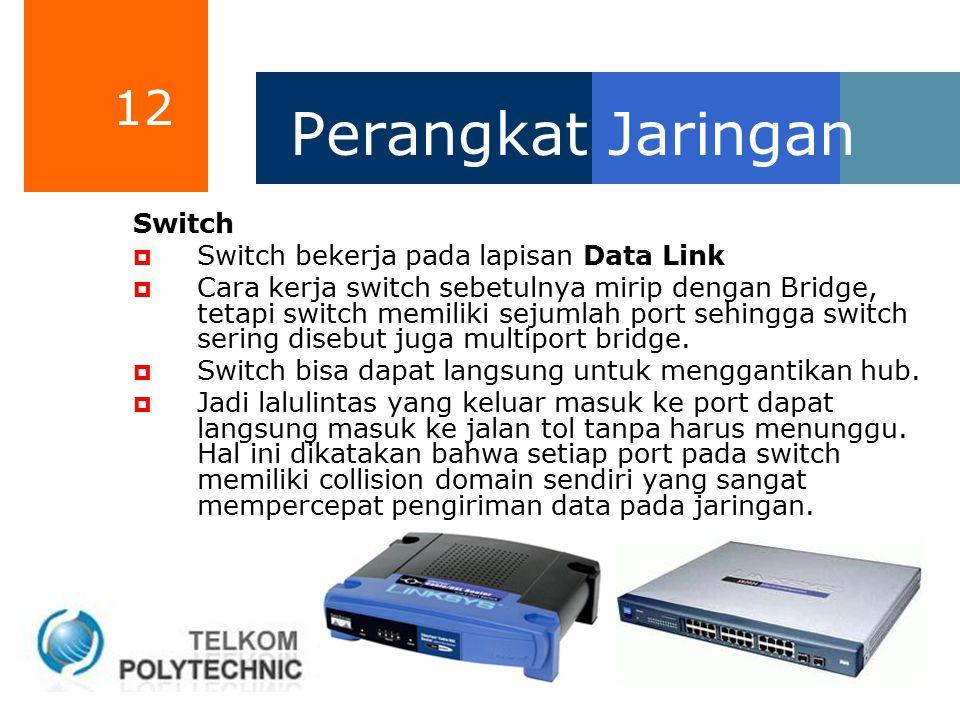 Perangkat Jaringan Switch Switch bekerja pada lapisan Data Link