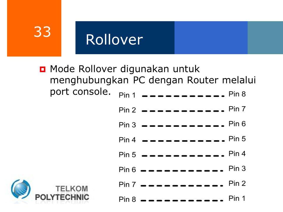 Rollover Mode Rollover digunakan untuk menghubungkan PC dengan Router melalui port console.