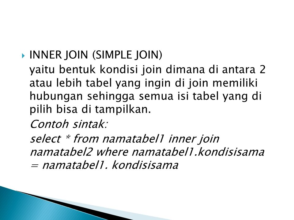 INNER JOIN (SIMPLE JOIN)