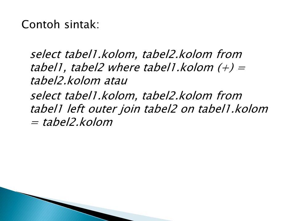 Contoh sintak: select tabel1. kolom, tabel2