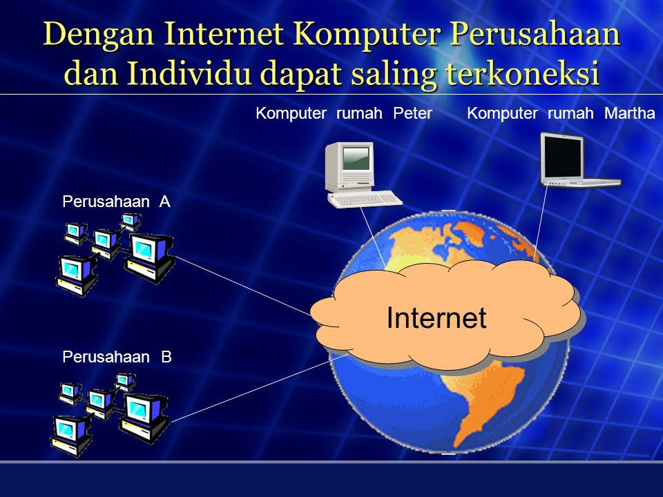 Dengan Internet Komputer Perusahaan dan Individu dapat saling terkoneksi