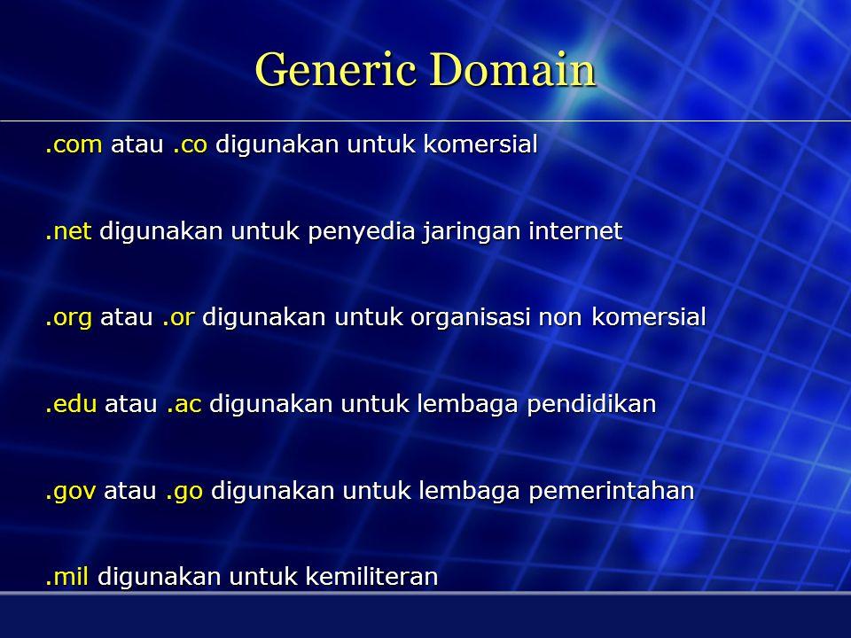 Generic Domain .com atau .co digunakan untuk komersial