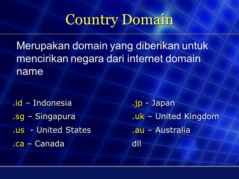Country Domain Merupakan domain yang diberikan untuk mencirikan negara dari internet domain name. .id – Indonesia .jp - Japan.
