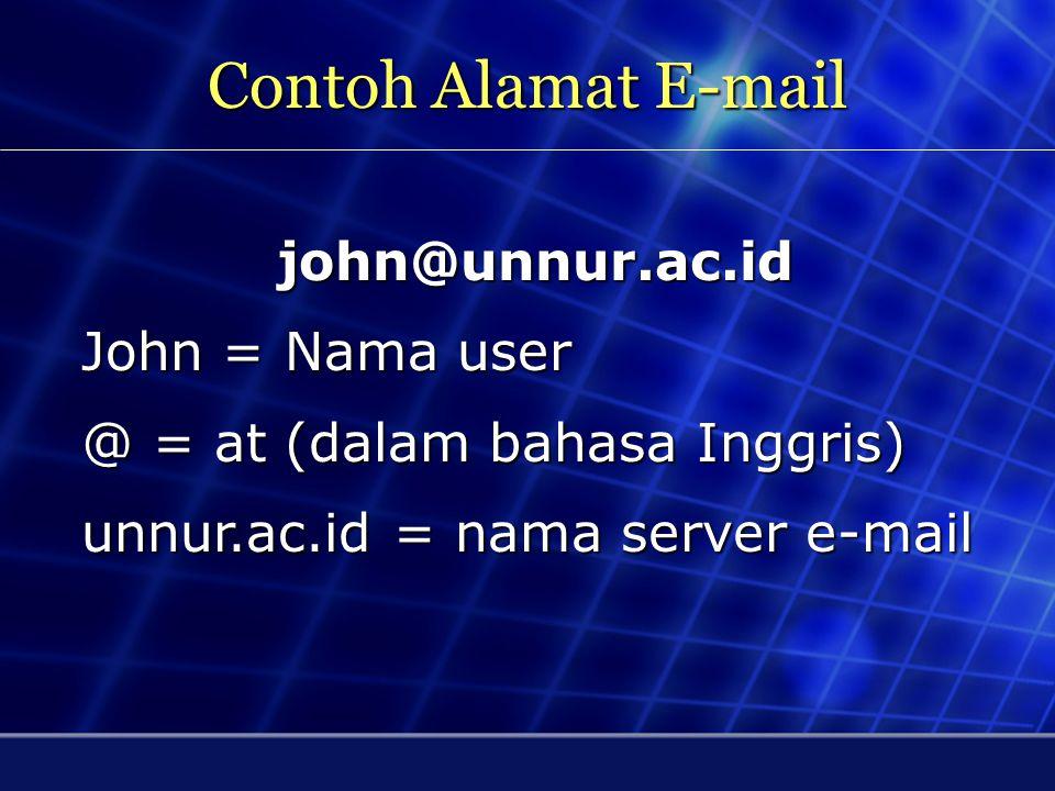 Contoh Alamat E-mail john@unnur.ac.id John = Nama user
