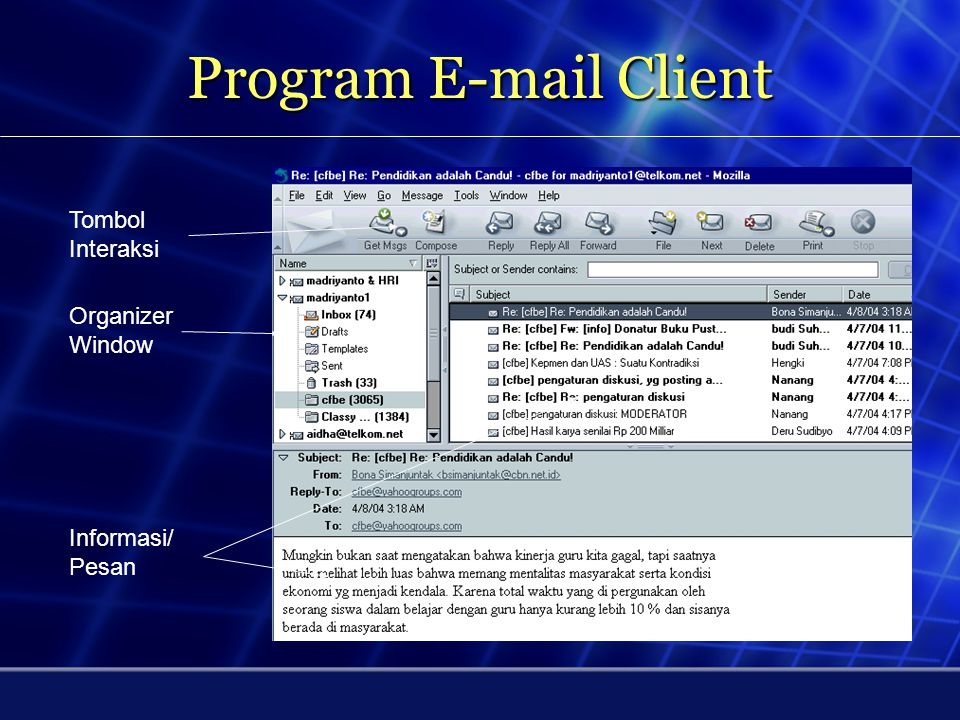Program E-mail Client Tombol Interaksi Organizer Window