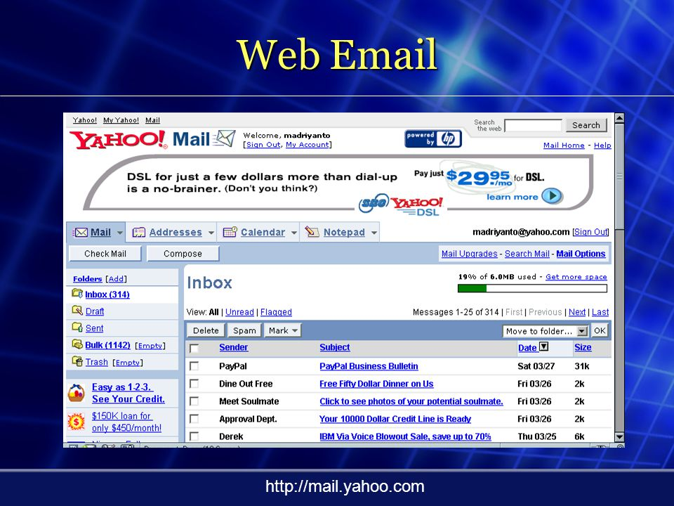 Web Email http://mail.yahoo.com