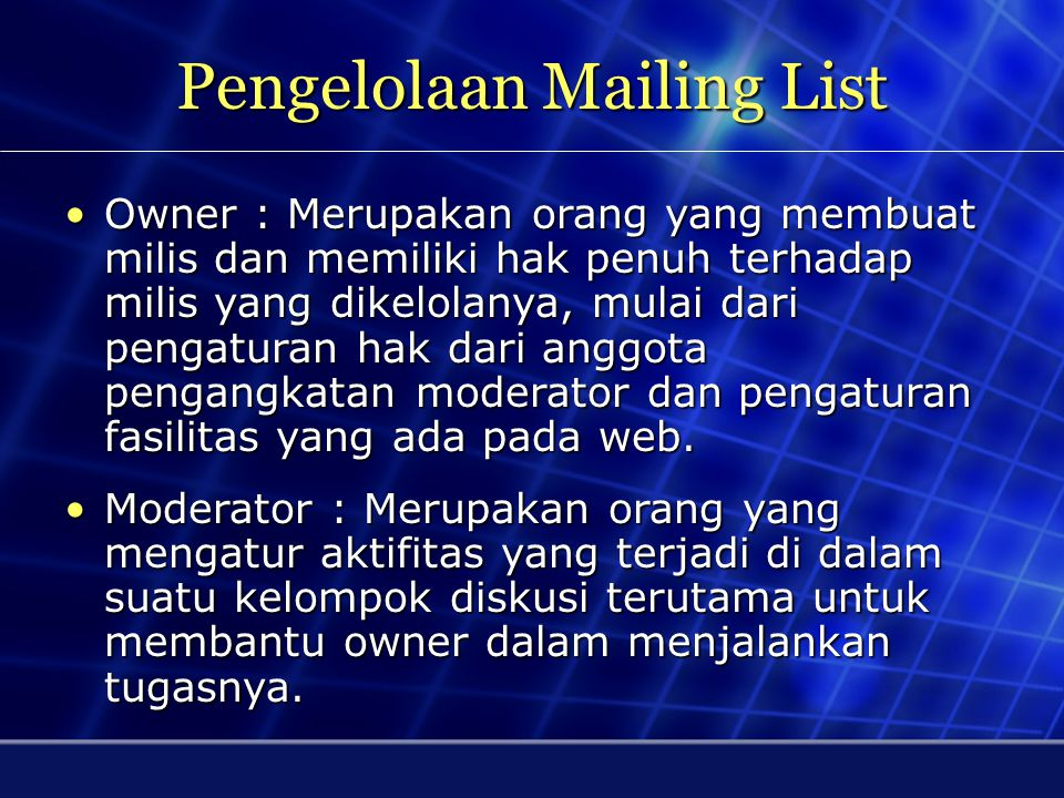 Pengelolaan Mailing List