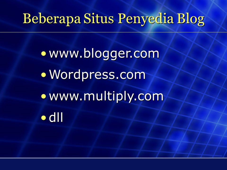 Beberapa Situs Penyedia Blog