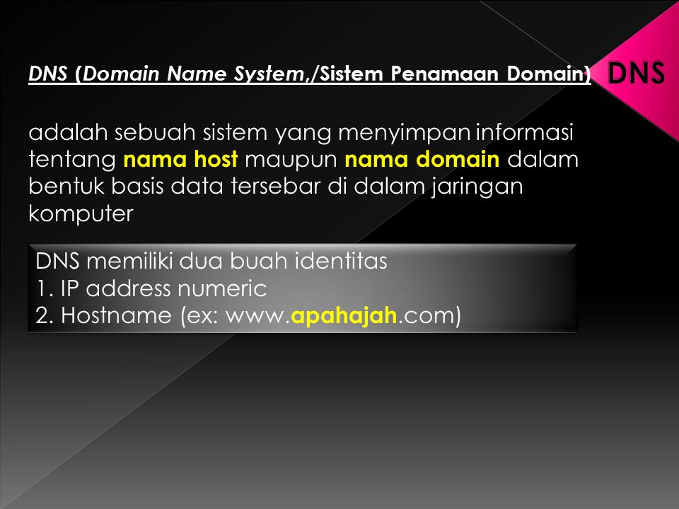 DNS DNS (Domain Name System,/Sistem Penamaan Domain)