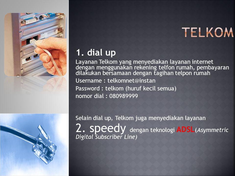 Telkom 1. dial up.