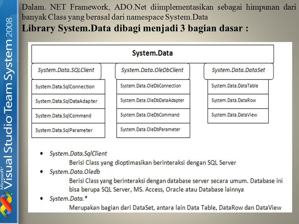 Library System.Data dibagi menjadi 3 bagian dasar :