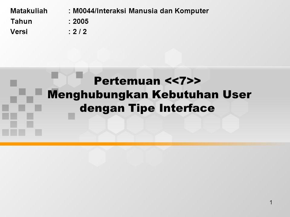 Matakuliah : M0044/Interaksi Manusia dan Komputer