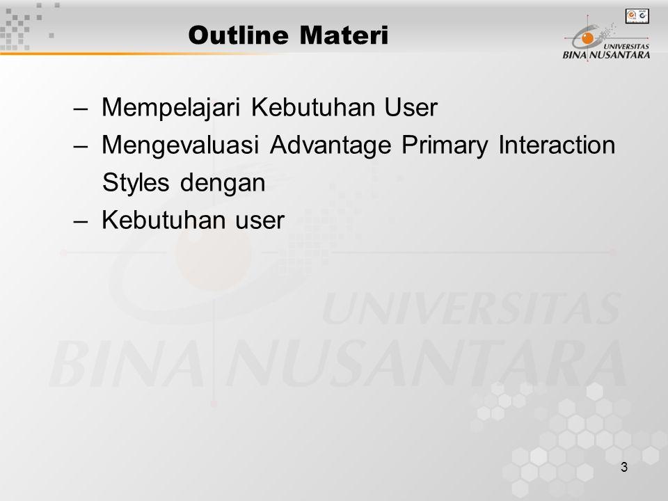 Outline Materi Mempelajari Kebutuhan User. Mengevaluasi Advantage Primary Interaction. Styles dengan.
