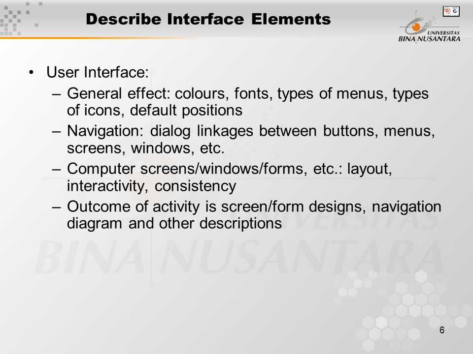 Describe Interface Elements
