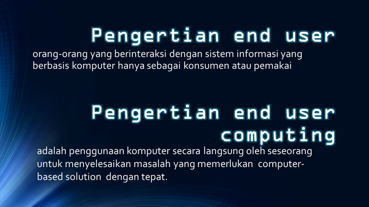 Pengertian end user computing