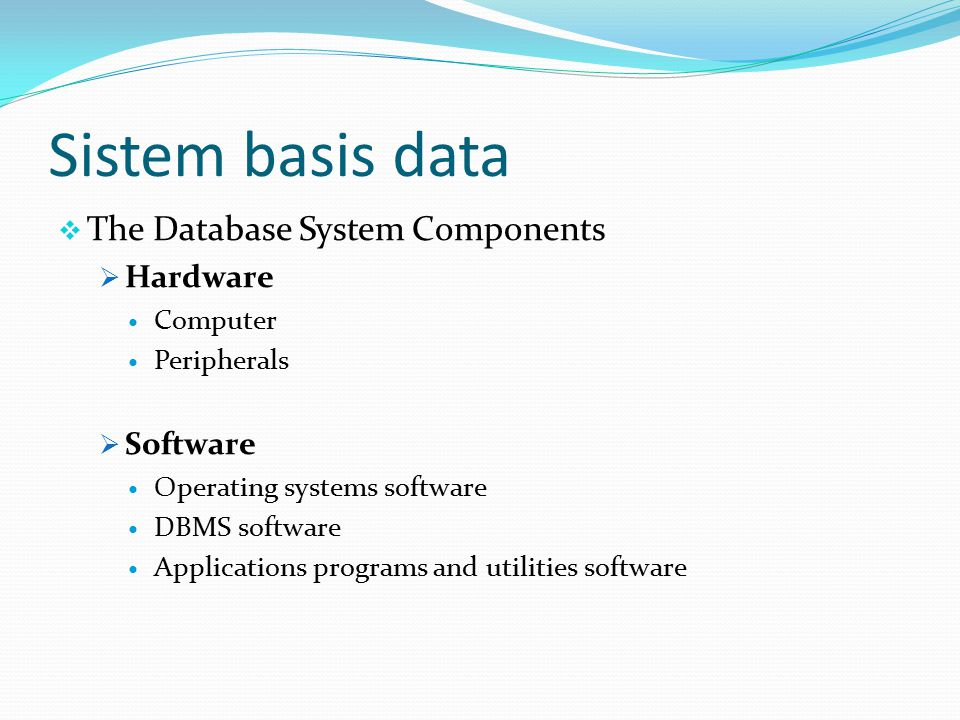 Sistem basis data The Database System Components Hardware Software