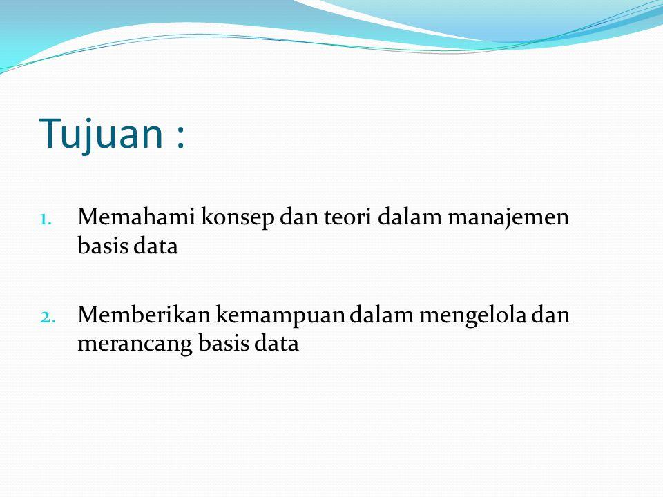 Tujuan : Memahami konsep dan teori dalam manajemen basis data