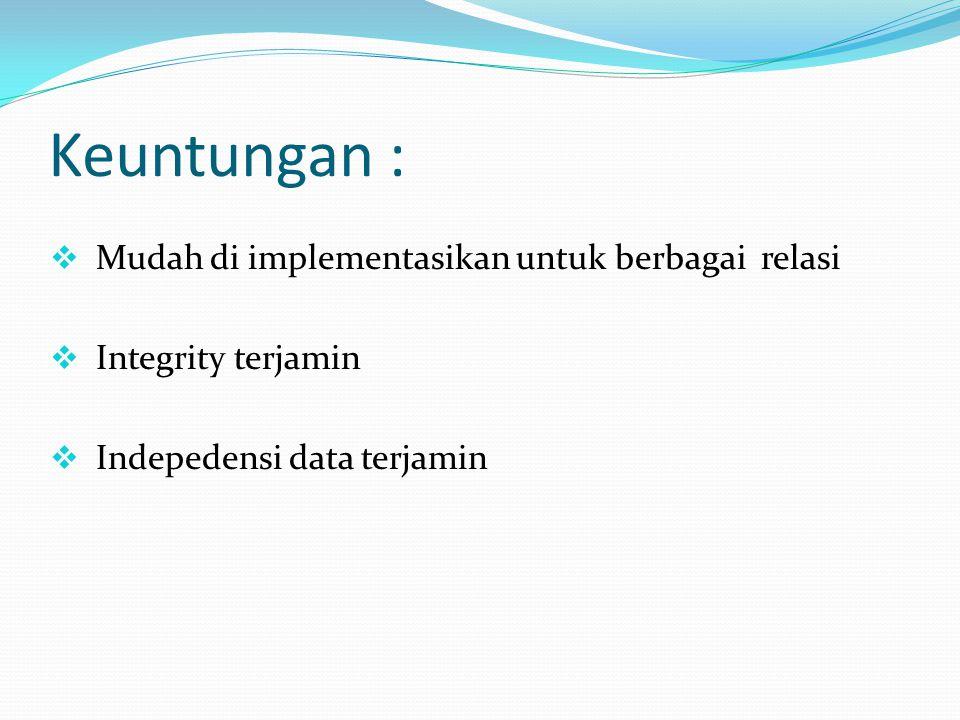 Keuntungan : Mudah di implementasikan untuk berbagai relasi