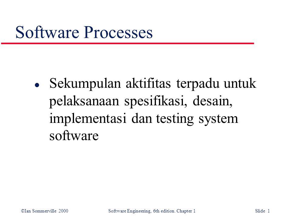 Software Processes Sekumpulan aktifitas terpadu untuk pelaksanaan spesifikasi, desain, implementasi dan testing system software.