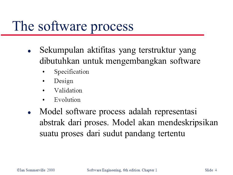 The software process Sekumpulan aktifitas yang terstruktur yang dibutuhkan untuk mengembangkan software.