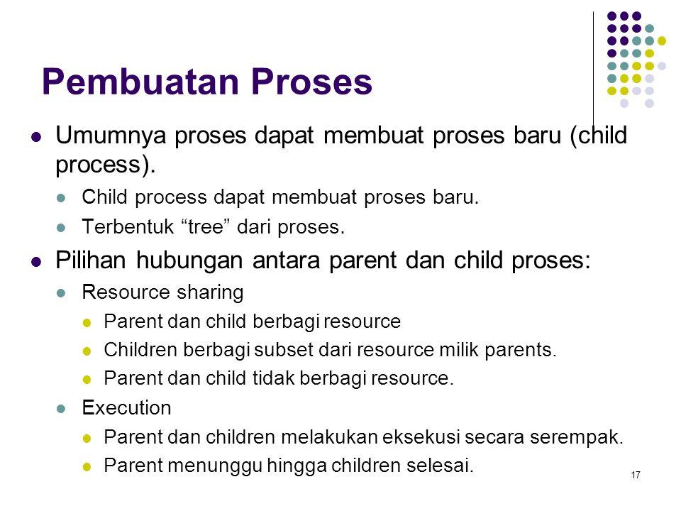 Pembuatan Proses Umumnya proses dapat membuat proses baru (child process). Child process dapat membuat proses baru.