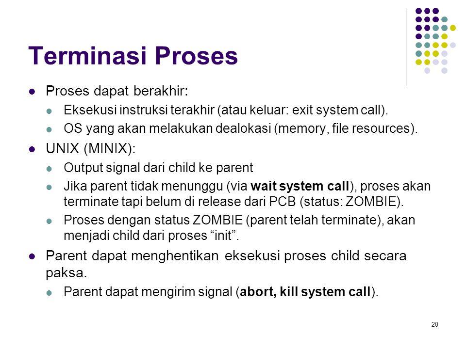 Terminasi Proses Proses dapat berakhir: UNIX (MINIX):